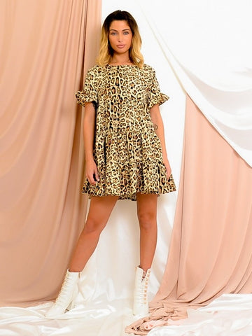 Leopard Print Frill Tiered Smock Dress-Stone