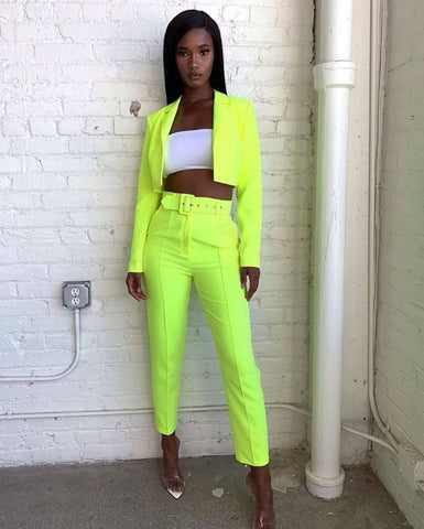 Cropped Blazer Straight Leg Suit-Lime