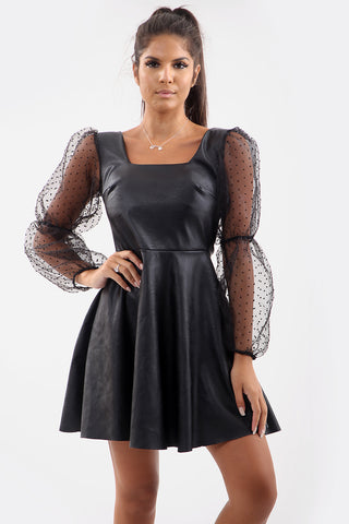 Mesh Sleeve Faux Leather Skater Dress