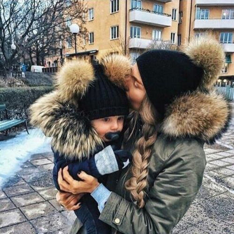 Mother&Baby Daughter/Son Winter Warm Knit Hat