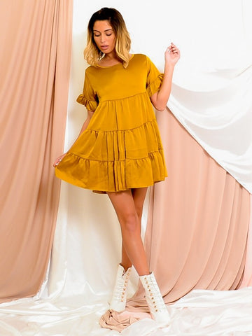 Satin Frill Tiered Smock Dress-Mustard