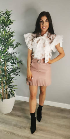 Faux Leather Frill Belted Skirt Pink