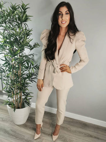 Puff Sleeve Two Piece Blazer Suit Nude