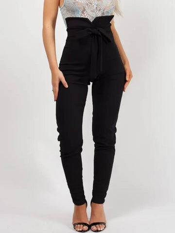Tie Knot Front High Waist Trousers-Black