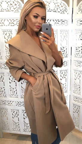 Camel Oversized Belted Waterfall Coat