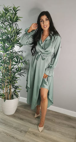 Teal Bonnie Gathered Wrap Dress