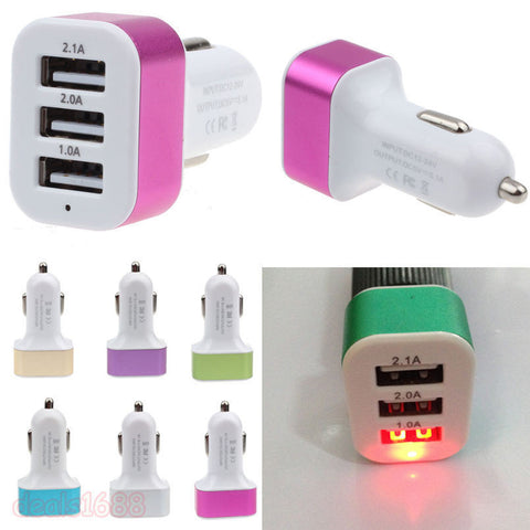 Auto Universal 3 Port Triple USB 3.1A Car Charger Adapter - www. efair .lk