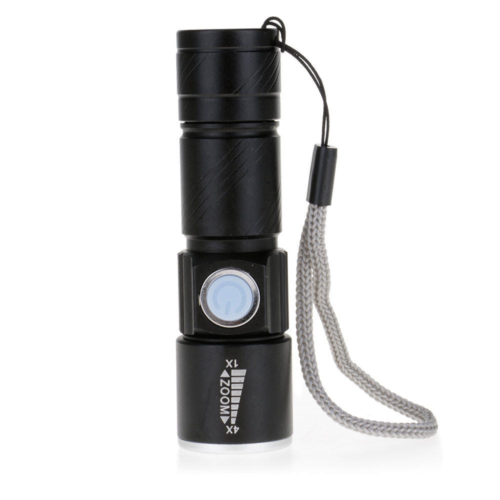 Mini Pocket Zoomable USB Rechargeable LED Light Flashlight Torch - www. efair .lk