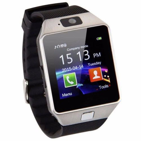 Bluetooth Smart Watch Phone Camera For Android & iPhone  - Black with Silver frame - www. efair .lk