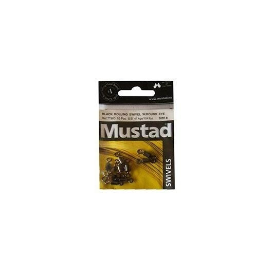 Mustad Black Rolling Swivel-Mustad-Brodies Angling & Outdoors