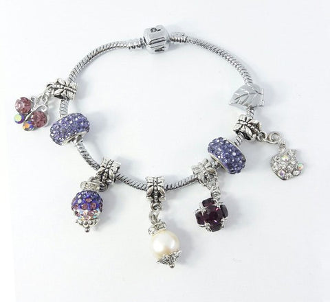 Glass Ball Bracelet - Purple