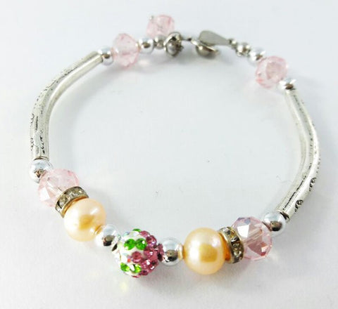 Silver Bracelet - Pink & Apple Green