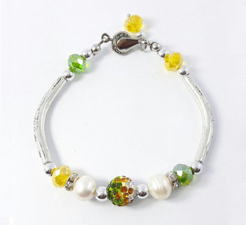 Silver Bracelet - Yellow & Apple Green