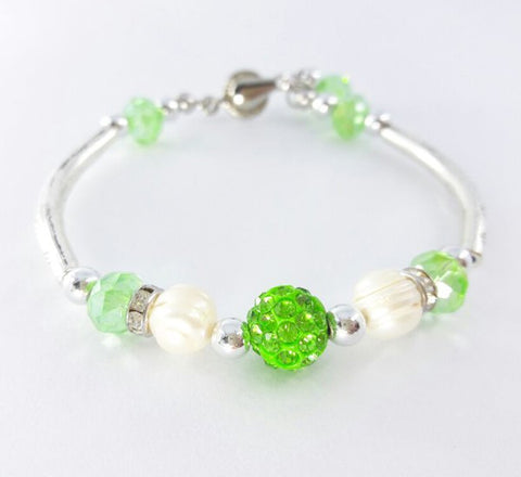 Silver Bracelet - Apple Green
