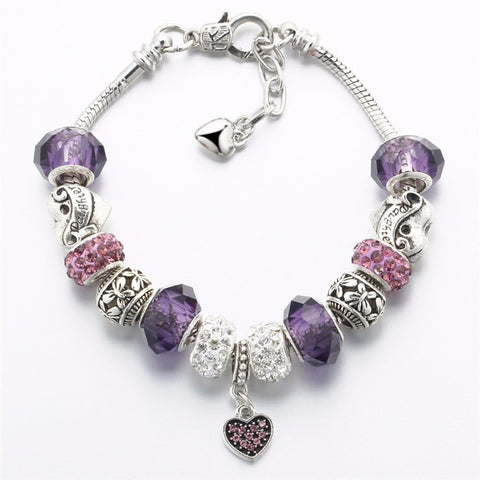 Silver Color Charm Glass Bracelets Crystal Heart Beads & Bangles Pulseras