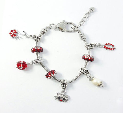 Glass Ball Bracelet - Red