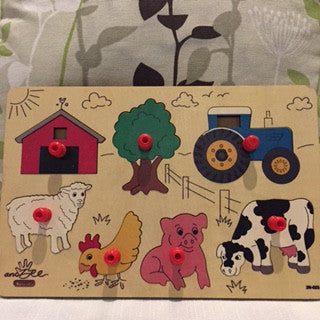 andZee Naturals Farm Shapes Peg Puzzle - Bocky & Moo