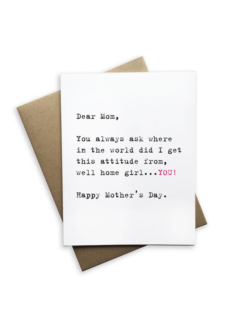 Dear Mom, Happy Mothers Day Notecard