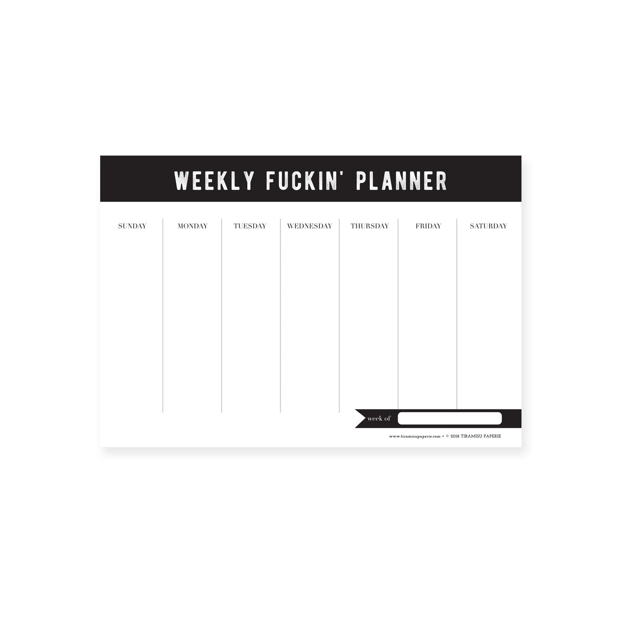 Weekly Fuckin' Planner Mousepad Notepad