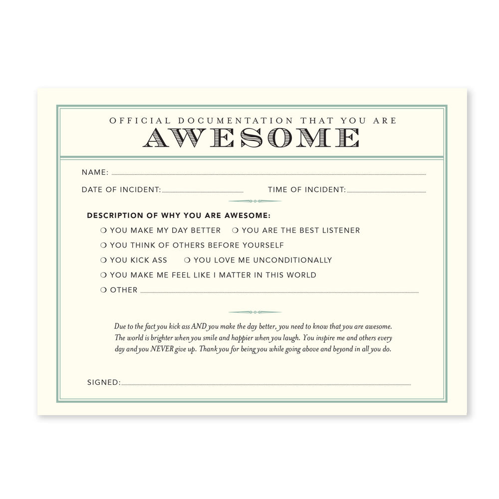 You're Awesome Receipt Notecard Set