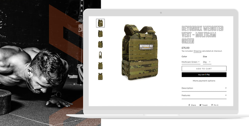 Beyond rx desktop website view weighted vest gym | 1HUTCH