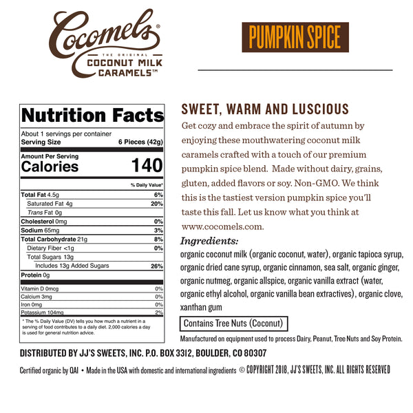 Snack Pack Pumpkin Spice Caramels 1.5oz (8 Pack) Nutrition Facts