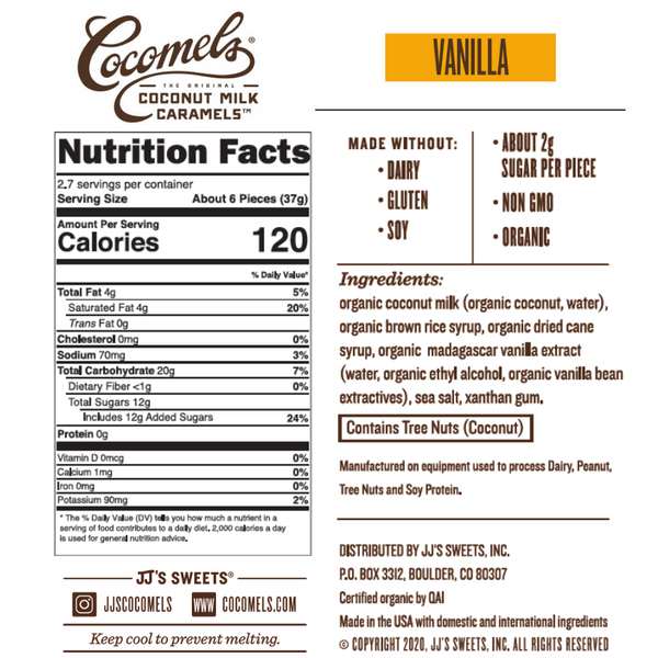 Vanilla Cocomels 3.5oz (3 & 6 Pack) Nutrition Facts
