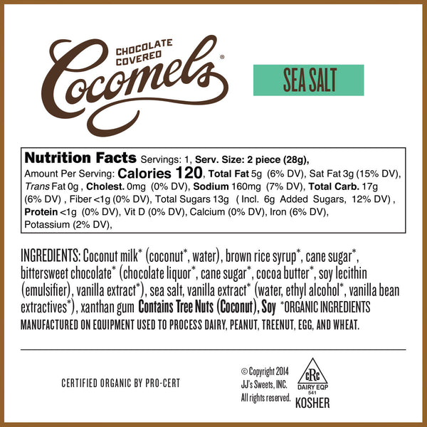 Sea Salt Chocolate Covered Cocomels 1oz (15 Pack) Nutrition Facts