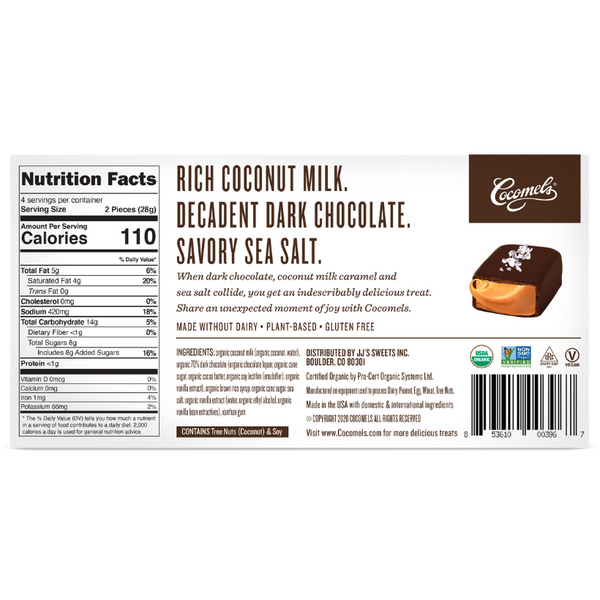 Cocomels Chocolate Covered Cocomels Gift Box 4oz Nutrition Facts and Product details.