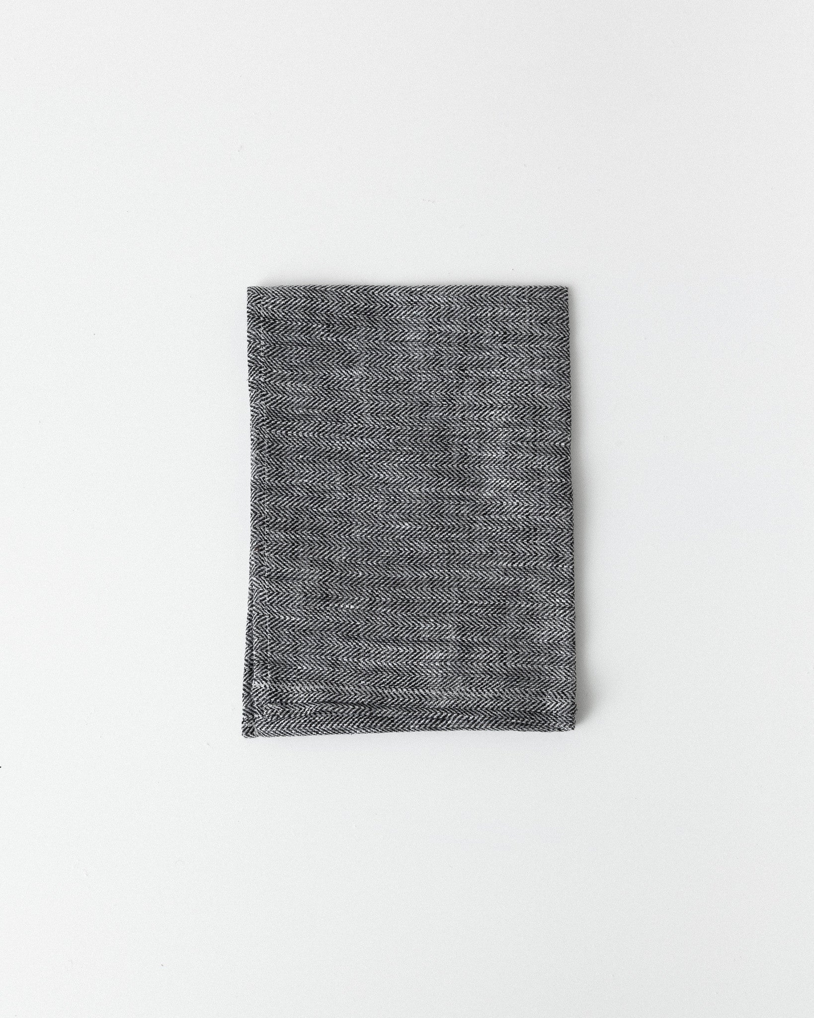 Fog Linen Work - Linen Kitchen Cloth - Herringbone Black