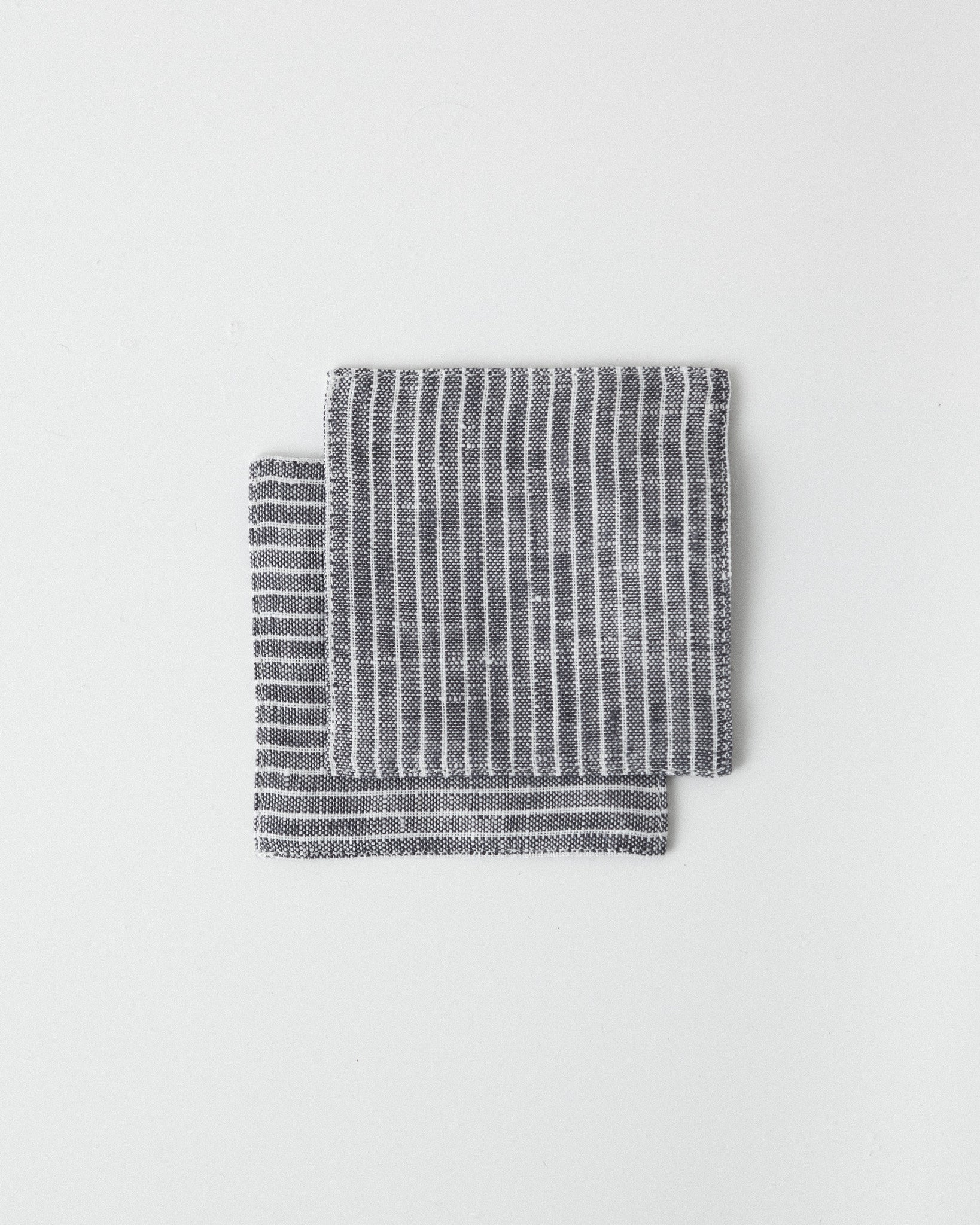 Fog Linen Work - Linen Coaster - Grey White Stripes
