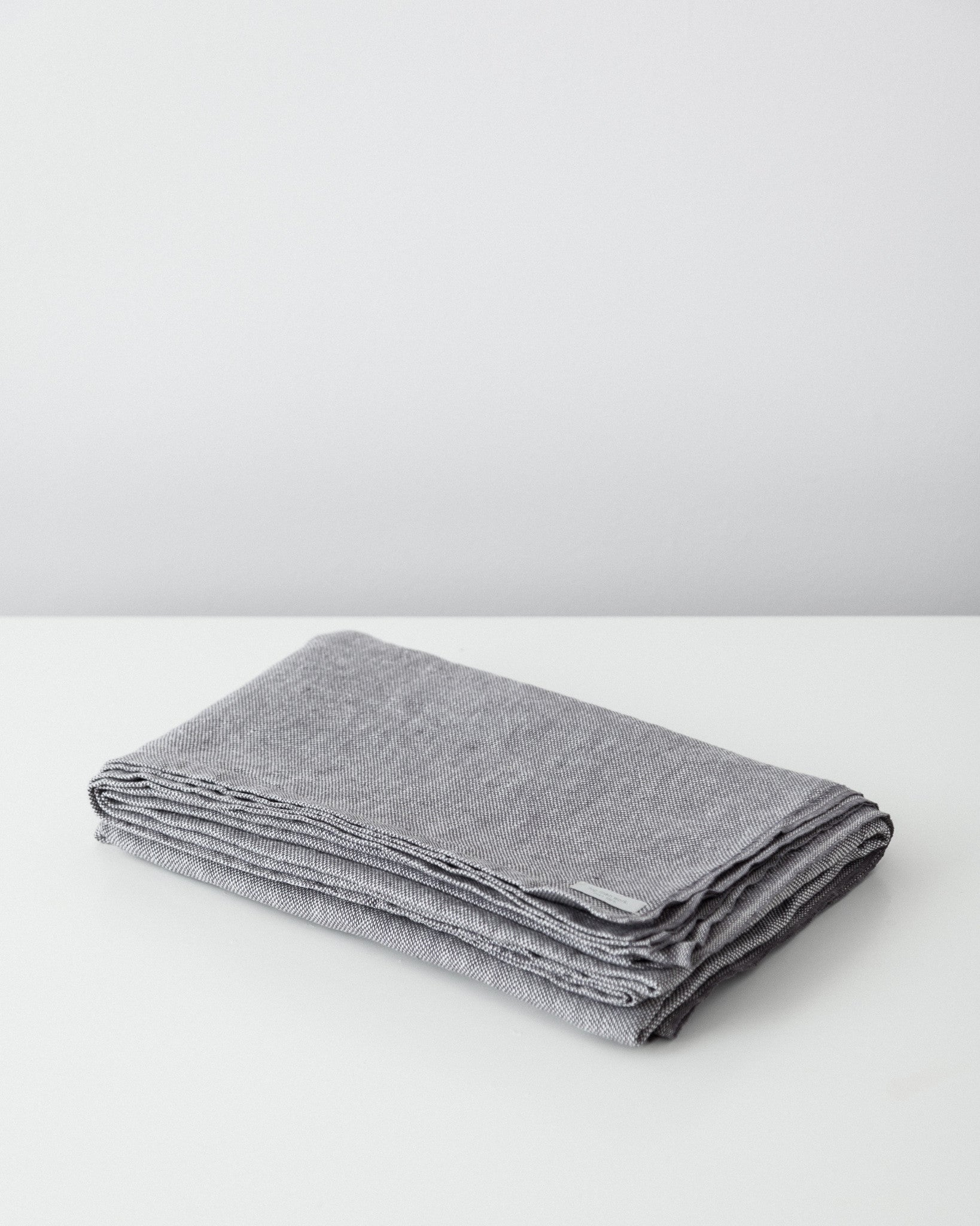 Fog Linen Work - Chambray Linen Blanket - Grey