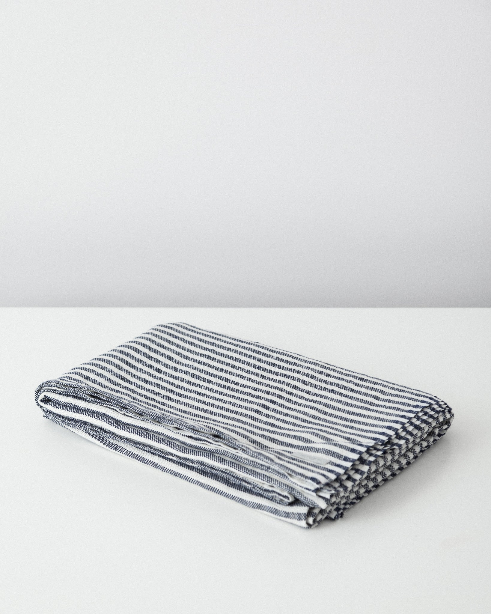 Fog Linen Work - Chambray Linen Blanket - Navy White Stripes