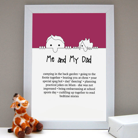 Personalised 'Me And My Dad Love' Print - Afewhometruths
