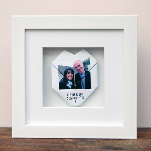 Personalised Framed Couples Origami Photo Heart - Afewhometruths