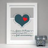 Personalised 1st Wedding Anniversary Print - Afewhometruths