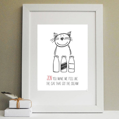 'Cat That Got The Cream' Valentine Print - Afewhometruths
