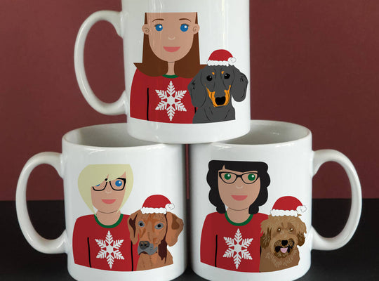 Personalised Christmas Dog Mum Mug - Afewhometruths