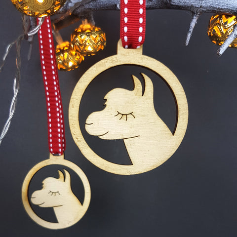 Alpaca Wooden Christmas Decoration (pack of 4)