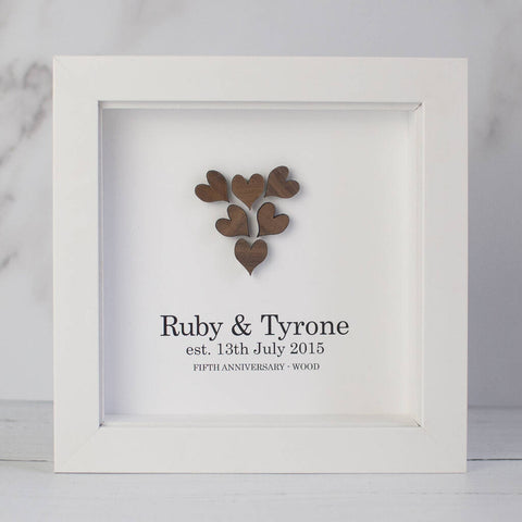 Personalised 5th Anniversary Handmade Wooden Heart Framed Gift