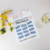 Raunchy 'Most Likely' Scratchie Bridal Shower Game Print - Afewhometruths
