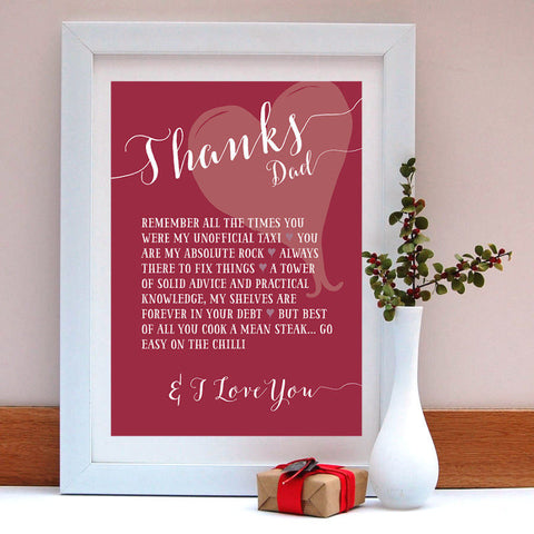Thanks Dad Personalised Print - Afewhometruths