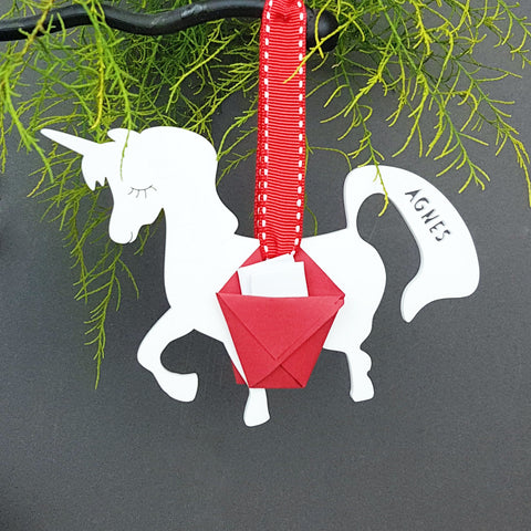 Personalised Unicorn Carrier Christmas Tree Bauble Decoration - Afewhometruths