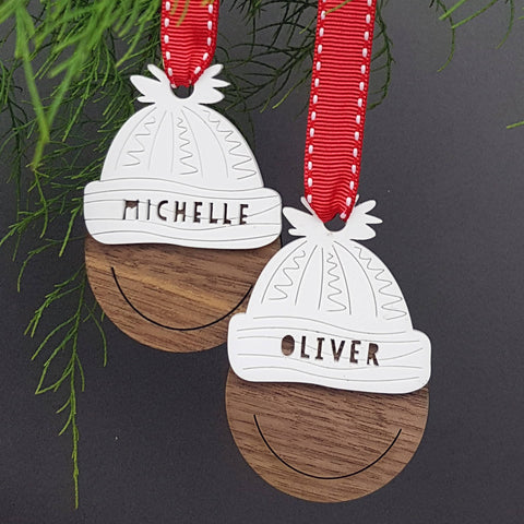 Personalised Bobble Hat Christmas Tree Bauble Decoration - Afewhometruths
