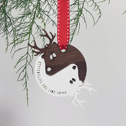 Personalised Yin Yang Reindeer Christmas Tree Bauble Decoration - Afewhometruths