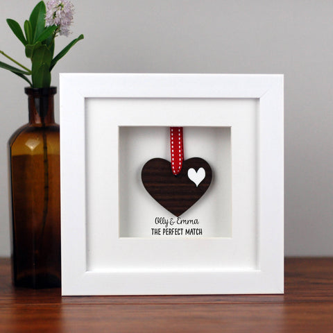 Personalised Double Walnut Wooden Heart Frame