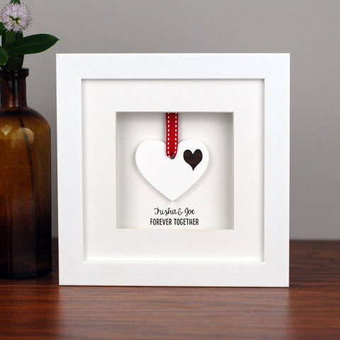 Personalised Double White Acrylic Heart Frame