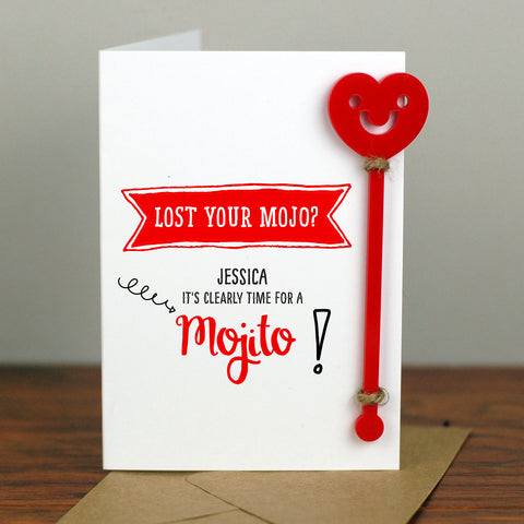 Mojito Cocktail Birthday Card With Cocktail Stirrer - Afewhometruths