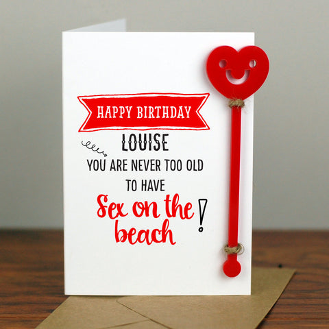 Sex on the Beach Cocktail Birthday Card With Cocktail Stirrer - Afewhometruths