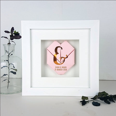 Framed Copper Origami Wedding And Anniversary Heart Gift - Afewhometruths